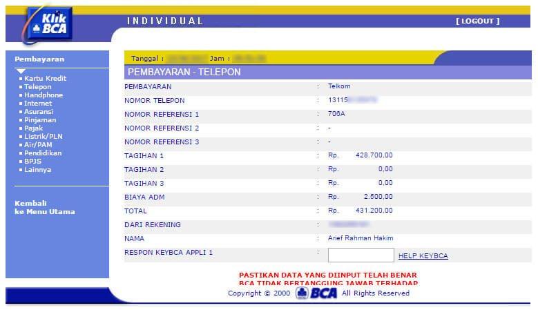 Cara bayar tagihan internet IndiHome lewat KlikBCA - detail pembayaran