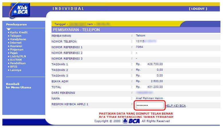 Cara bayar tagihan internet IndiHome lewat KlikBCA - keyBCA appli 1