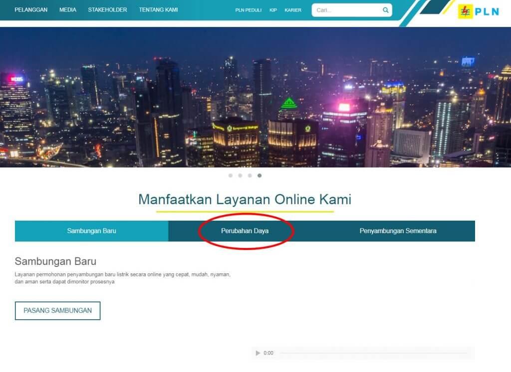Website PLN baru 2017 - klik menu Perubahan Daya