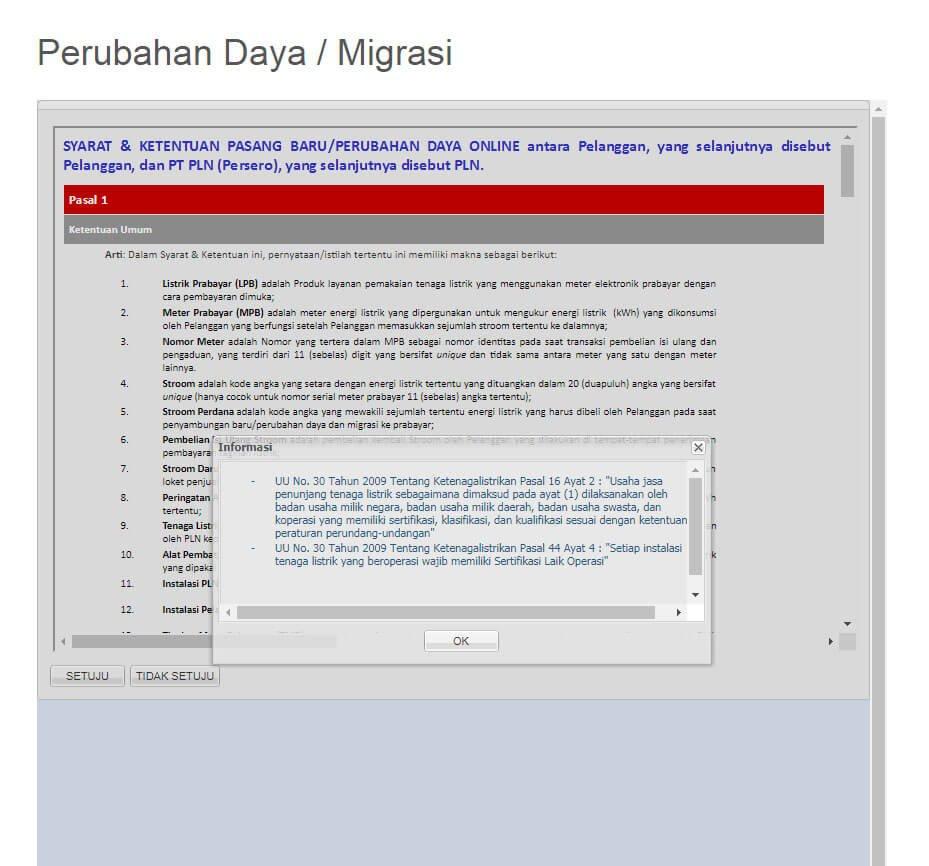Jendela pop-up informasi perundang-undangan