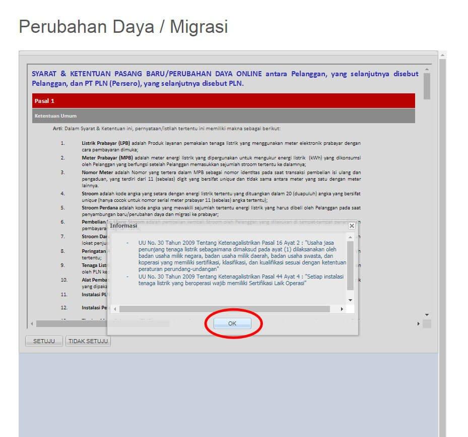 Jendela pop-up informasi perundang-undangan - klik OK