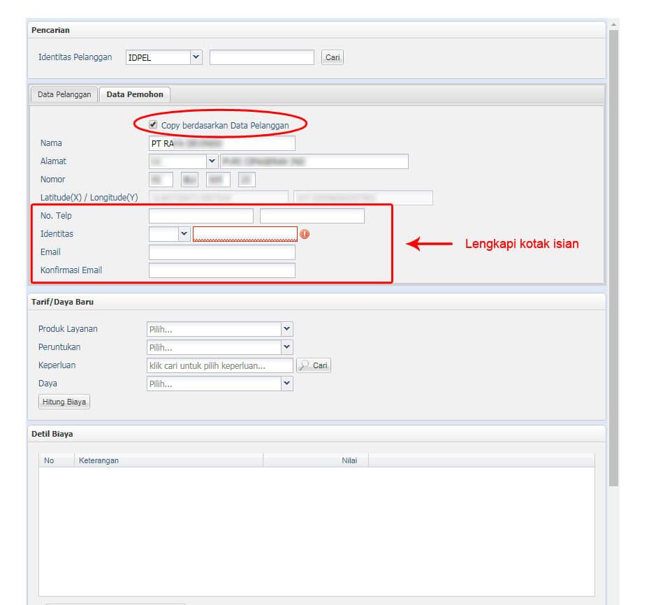 Copy berdasarkan Data Pelanggan - lengkapi isian