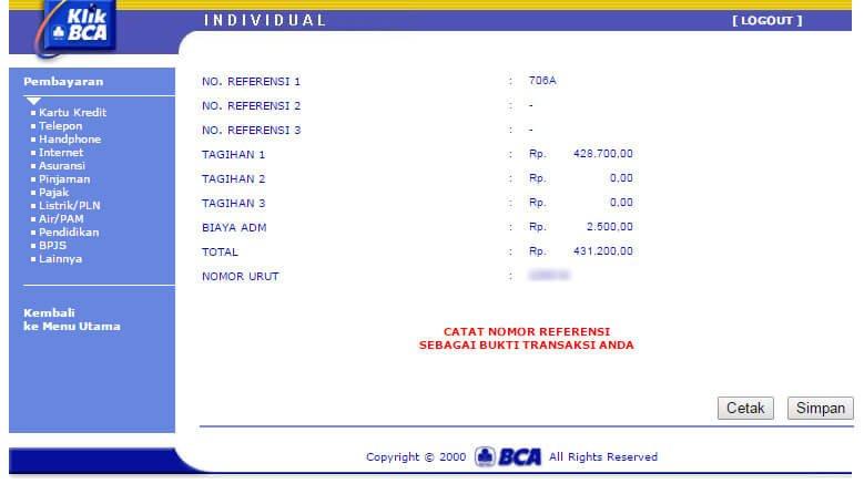 Cara bayar tagihan internet IndiHome lewat KlikBCA - scroll halaman