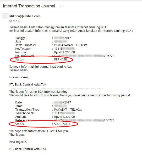 Cara bayar tagihan internet IndiHome lewat KlikBCA - email pemberitahuan