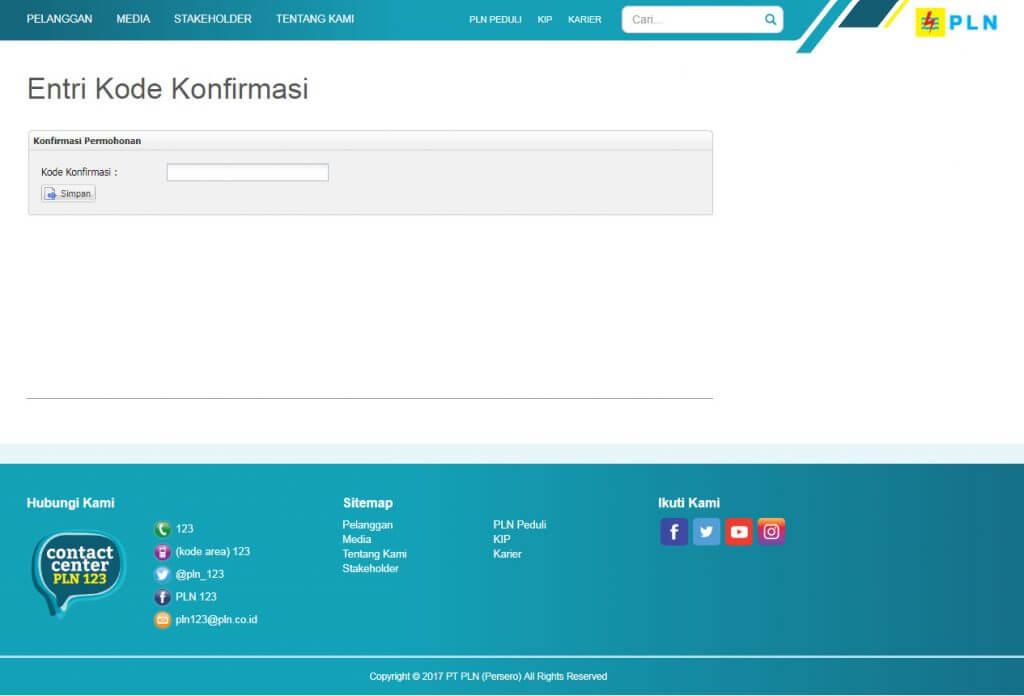 Halaman website Entri Kode Konfirmasi