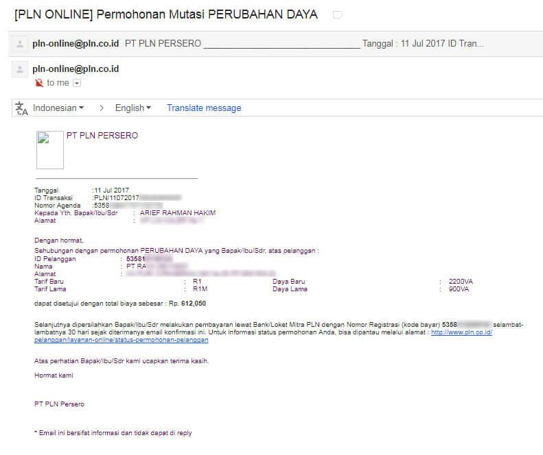 Email notifikasi kedua