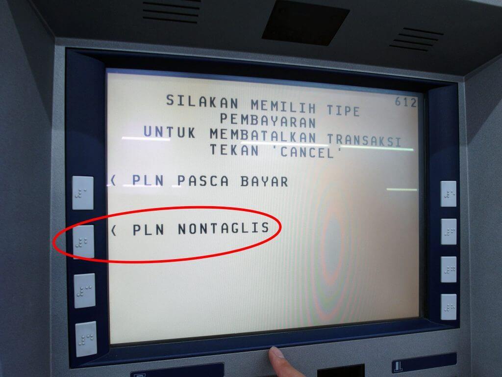 ATM BCA - Transaksi Lainnya - Pembayaran - Listrik / PLN - PLN Nontaglis