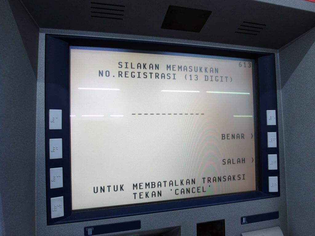 ATM BCA - Transaksi Lainnya - Pembayaran - Listrik / PLN - PLN Nontaglis - No. Registrasi