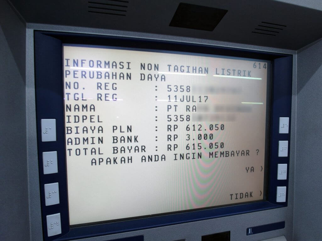 ATM BCA - Informasi Non Tagihan Listrik - Penambahan Daya
