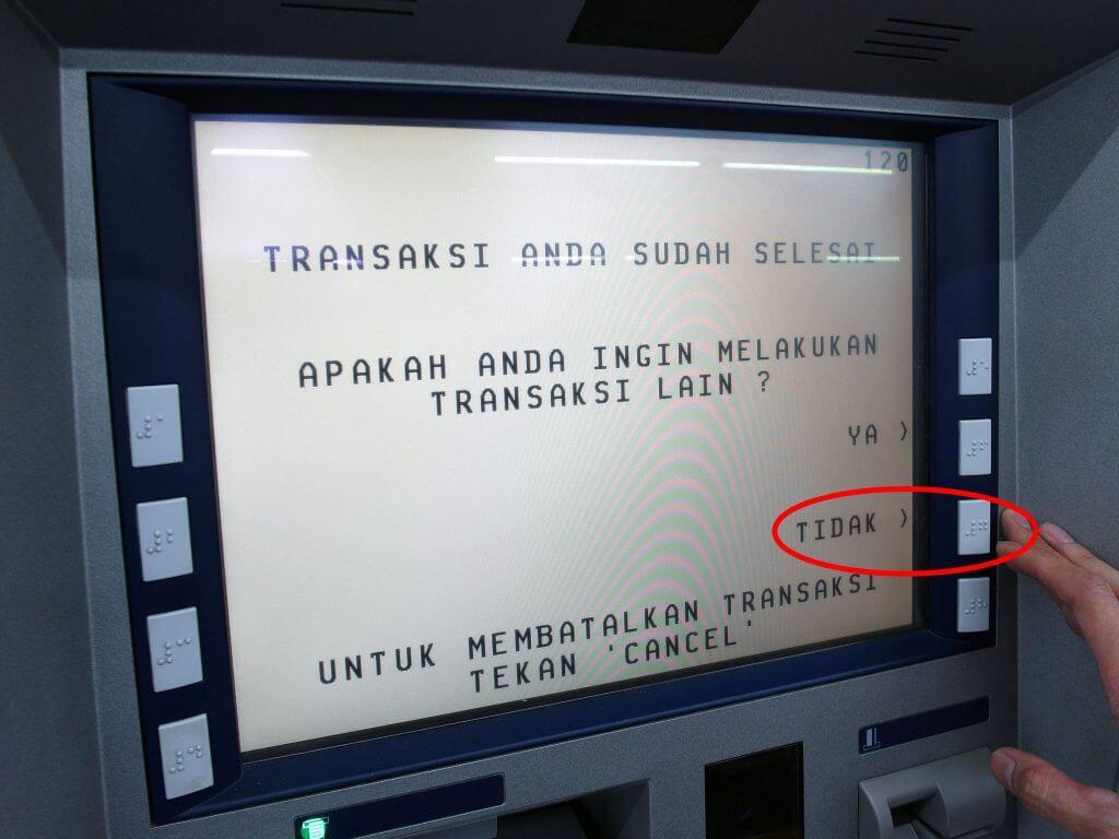 ATM BCA - Transaksi Selesai- Tekan Tidak