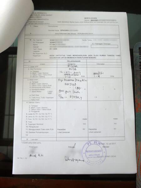Surat Berita Acara penambahan daya oleh petugas PLN