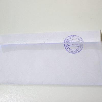 Tampilan amplop bagian belakang surat keterangan pemeriksaan narkoba (surat bebas narkoba)