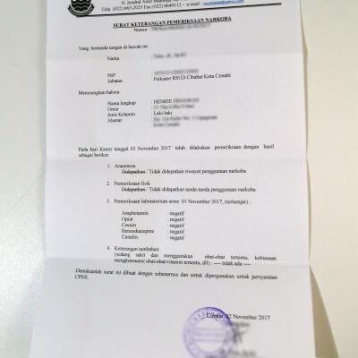 Lembar surat keterangan pemeriksaan narkoba (surat bebas narkoba) dari Rumah Sakit Umum Daerah Cibabat, Kota Cimahi.