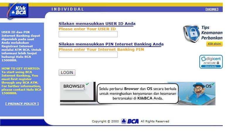 Beli pulsa handphone via KlikBCA - website KlikBCA