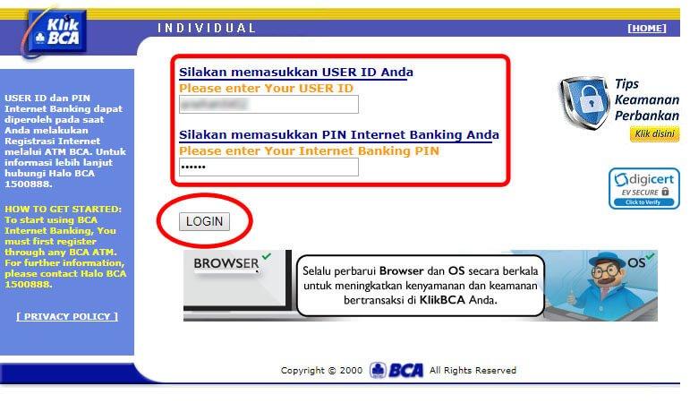 Beli pulsa handphone via KlikBCA - login ke KlikBCA