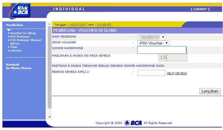 "Beli pulsa handphone via KlikBCA - halaman ""Pembelian - Voucher Isi Ulang""."