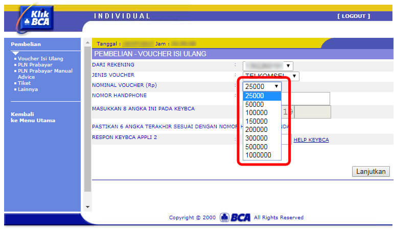 Beli pulsa handphone via KlikBCA - pilih nominal voucher