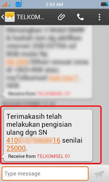 Beli pulsa handphone via KlikBCA - SMS notifikasi pembelian pulsa.